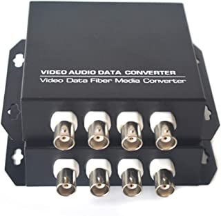 Primeda-tronic 4 Channels Video Over Fiber Optic Media Converters for Camera Surveillance Include Transmitter and Receiver