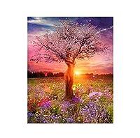 モザイクアート ハンドメイド 夕暮れの美の木を抱きしめる ラウンドフルドリルクリスタルラインストーンダイヤモンド塗装アートクラフト、ダイヤモンド塗装 30x40cm