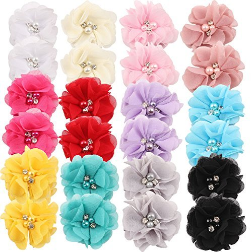 inSowni 2' Alligator Hair Clips Barrettes Chiffon Flower Bow with Rhinestone Pearl for Baby Girl Toddlers