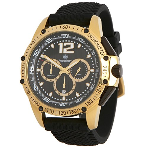 Constantin Durmont Herren Chronograph Quarz Uhr mit Kautschuk Armband CD-TRIB-QZ-RB-GDGD BK