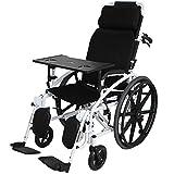 YISUNF Fauteuils roulants Fauteuil Roulant Multi-Fonction complète Reclining Transport Pliant Portable Chaise Voyage de Transport handicapés âgées Pousser la Main Ceinture Potty