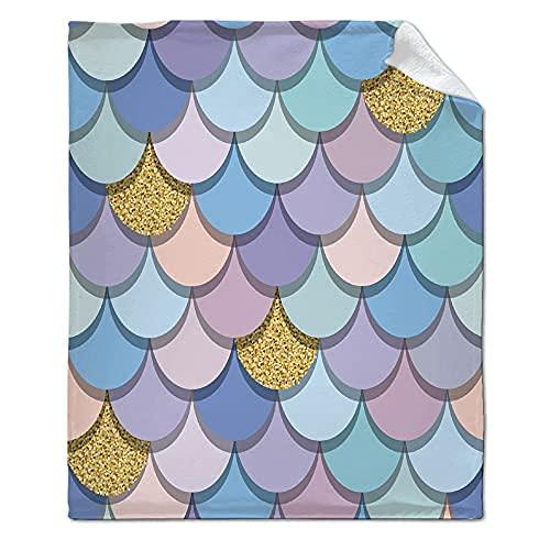 Pastel-Mermaid-Scales-Megan-Morris Manta supersuave, cálida y cómoda, manta de forro polar de 50 x 40 pulgadas para niños, para cama, sofá, silla, oficina regalo
