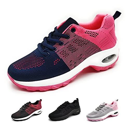 Zapatillas Deportivas para Mujer con Cuña de Camara de Aire Muy Transpirables y Ligeras con Bmabas con Plataforma Moda Deportiva Azul Fuxia 39