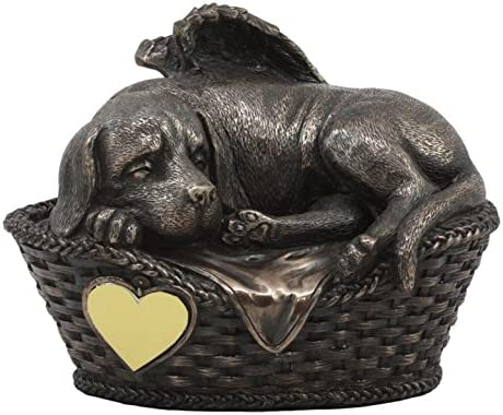 Ebros Heavenly Angel Labrador Dog Sleeping in Wicker Bed Basket Cremation Urn Pet Memorial Statue product image