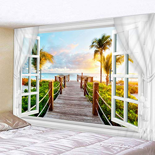 GUDOJK Tapijt, landschap, buiten het venster, bedrukken wandtapijt, hippie, wandtapijt, kunst, kat boheems, decoratieve woonkamer, grote deken, 130 cm x 150 cm