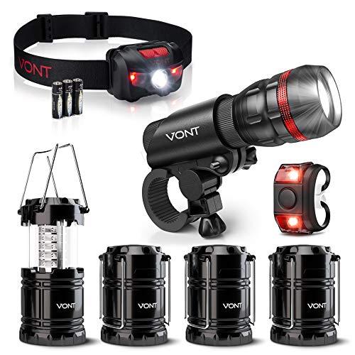 Vont Nocturnal Adventurer Bundle - Scope Bike Light + 4-Pack LED Camping Lanterns + Tron Headlamp - The Starter Pack for Night Rides & Camping Adventures