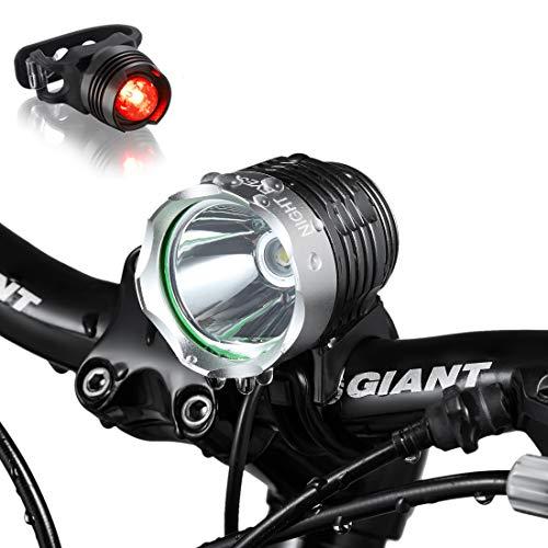Night Eyes- 1200 Lumens Mountain Bike Headlight Bike LED Light -Rechargeable 8.4V 6400mA ABS Waterproof Battey-Free Aluminum BikeTaillight Bonus -NO Tool Required (Round 1200)