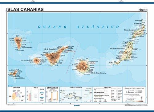 Mapa mural Islas Canarias impreso a doble cara Físico / Político envarillado, con colgadores y tubo 140 x 100 cm