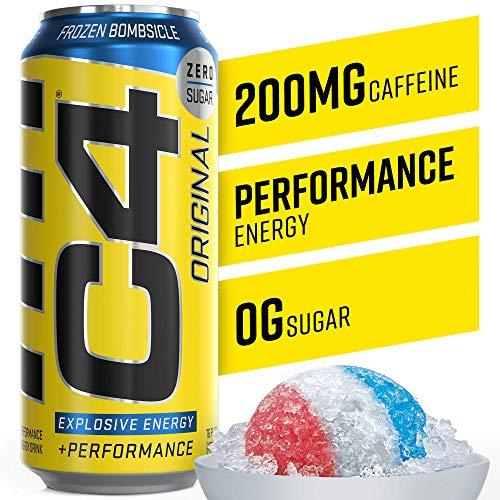Cellucor C4 Original Carbonated Zero Sugar Energy Drink, Pre Workout Drink + Beta Alanine, Sparkling Frozen Bombsicle, 16 Fl. Oz (Pack of 12)