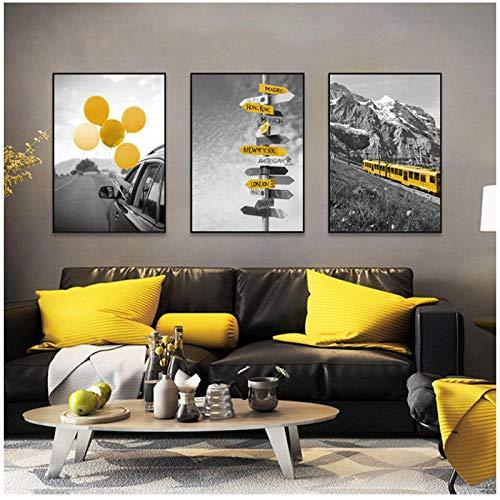 xwlljkcz 3 Stück Schwarz Weiß Landschaft Poster und Druck Nordic Leinwand Malerei Wandkunst Gelb Stil Bild Moderne Wohnzimmer Wohnkultur 40x60 cm kein Rahmen