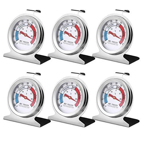 6PCS Refrigerator Freezer Thermometer - Refrigerator/Freezer/Fridge Temperature Cooler - Classic Series Large Dial Thermometer (6)