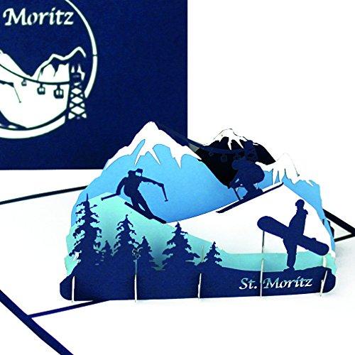 Grußkarte St. Moritz - 3D Karte als Souvenir, Geburtstagskarte, Reisegutschein & Einladungskarte zum Skiurlaub in der Schweiz - Pop Up Karte Ski & Snowboard