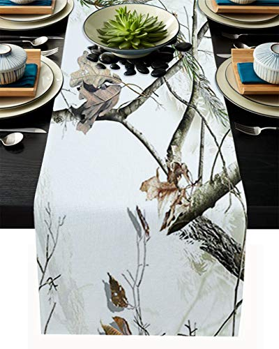 ABCrazy Rectangle Table Runner White Tree Camo Linen Cotton Dining Table Cloth Runners Autumn Season Home Decoration for Indoor Outdoors Dinner Party Wedding Birthday - 13 x 70 inches