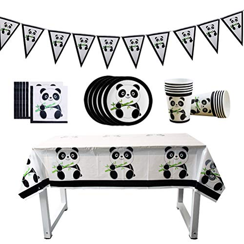 Toyvian Bannière en Forme de Panda en Papier, Assiette en Tissu, Nappe jetable pour fête d'anniversaire