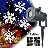 jinclonder Weihnachtsprojektion LED Scheinwerfer Schneesturm Blumenmuster Lampe, IP65 Wasserdicht 12 Muster Dynamischer Effekt für draußen Weihnachten Halloween Hochzeitsdekoration Rasen