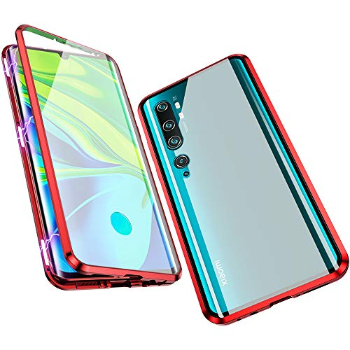 Jonwelsy Hülle für Xiaomi Mi Note 10 / CC9 Pro, Magnetische Adsorption Metall Stoßstange Flip Cover mit 360 Grad Schutz Doppelte Seiten Transparent Gehärtetes Glas Handyhülle für CC9 Pro (Rot)