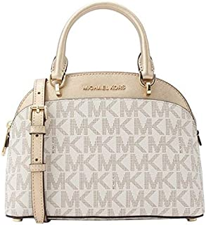 Michael Kors 35H7GY3S5M Emmy Small Cindy Dome Signature Logo Women's Crossbody Satchel Bag - Vanilla/Pale Gold