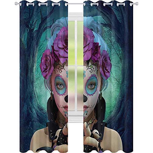 90% -99% verduisterende voeringgordijn, eng Clown als meisjes tonen haar handen met handschoenen en bloemen in haar hoofd print, W52 x L63 doorloop gordijnen voor meisjes kamer, veelkleurig
