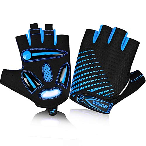MOREOK Fahrradhandschuhe für Herren Und Damen,5MM SBR+Flüssigkeit Gel Stoßdämpfende Halbfinger Atmungsaktiv Rutschfestes Radsporthandschuhe MTB Handschuhe Blau-XL