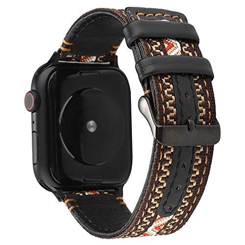 WAY-KE Banda De Reloj De Nylon Estilo Bohemio Compatible Apple Watch 38/40/42/44Mm Correa Repuesto para Reloj Inteligente Transpirable Correa De Reloj De Cuero para Iwatch Series 1 2 3 4 5,A,42MM