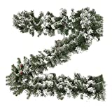 XIAOWEI 2.7M Guirnalda de Navidad Decoración de Glaciar Helado de Nieve Cono de Pino Verde Corona Festiva de Navidad para Puerta Escalera Chimeneas Patio Decoración de árbol de Navidad Interior al a