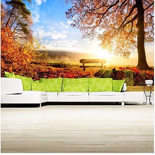 Fyyanm Anpassad 3D-väggmålning, Papel de pared höstlandskap träd lövverk bänk natur tapet, vardagsrum soffa TV vägg sovrum 3D tapet