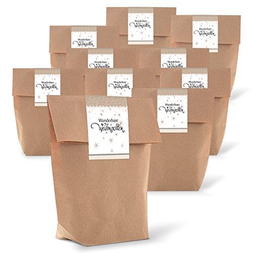 25 braune natur Papiertüte Verpackung Weihnachten 14 x 22 x 5,6 cm + 25 Aufkleber Sticker WUNDERBARE WEIHNACHTEN beige Geschenkverpackung weihnachtlich Shabby chic Geschenke verpacken