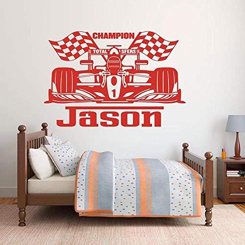 XCSJX Gran Nombre Racing Etiqueta de la Pared habitación de niño Nombre de la habitación de los niños fórmula Coche vehículo Etiqueta de la Pared decoración de Vinilo 94x63 cm