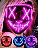 LED Light Up Halloween Mask, Scary Rave Glow LED Face Mask with 3 lighting Modes & El Wire for Costume&Cosplay Party. Adjustable&Eco-Friendly Material for Men Women Kid-PINK