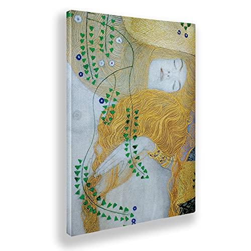 Giallobus - Cuadro - Gustav Klimt - Detalle de Serpientes de Agua 1 - Lienzo - 70x100 - Listo para Colgar - Cuadros Modernos para el hogar