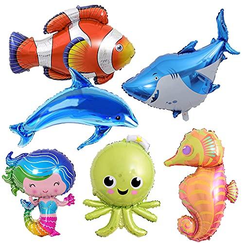 MEZHEN Globos Animales Marinos Cumpleaños Sirena Decoracion Globo de Tiburon Cumpleaños Sirena Globos para Decoración Fiestas de Cumpleaños Infantiles