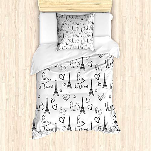 ABAKUHAUS Parijs Dekbedovertrekset, Eiffel Je T'aime Doodle, Decoratieve 2-delige Bedset met 1 siersloop, 135 cm x 200 cm, Zwart wit