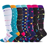 7 Paar Kompressionsstrümpfe für Damen,Ideal For Running, Sports,Air Travel, Shin Splints, Knee-Socks (S-M)
