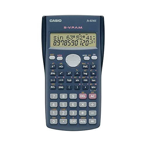 Casio 82MS Calculator Scientific/School Calculator Two-line Display with 240Functions, Battery Powered, Colour: Dark Grey