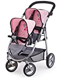 Bayer Design- Cochecito de Gemelos, Buggy, Color Gris, Rosa (26508AA)