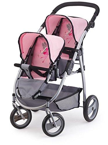 Bayer Design 26508AA Zwillingspuppenwagen, Tandem Puppenwagen, höhenverstellbar, mit Schwenkrädern, grau/rosa