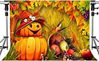 写真のHDハロウィーンのテーマの背景ハロウィーンのカボチャとフルーツ黄色のカエデの葉の背景7x5フィートLSMT1091