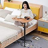 CHOUE Kohlenstoffstahl Schreibtisch Klein mit Eichenholzplatte,Höhenverstellbar, Abschließbare Rollen,Kinderschreibtisch Höhenverstellbar für Den Heimgebrauch Im Krankenhaus