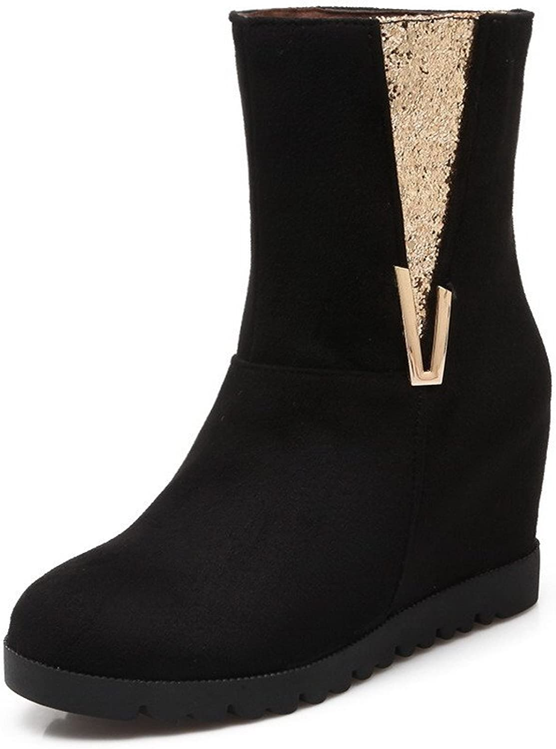 AllhqFashion Women's Frosted Round Closed Toe Kitten Heels Pull-On Solid Boots
