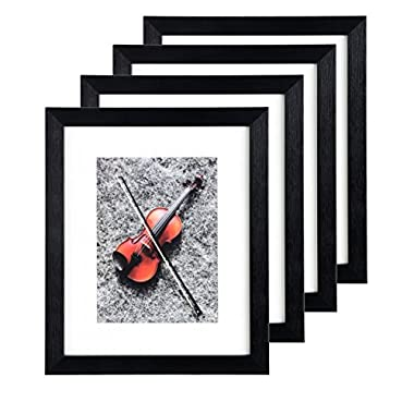 Black Portable Home Picture Frame 8 x 10 inch Pack of 4 - Display 5x7 Family Pictures with Mat or 8x10 without Mat Plexiglass Cover 4-Pack Photo Frame Set for Wall Hanging & Tabletop Standing