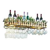 NYDZDM - Estante de metal y madera para botellas con almacenamiento de vidrio para decoración del hogar, cocina, estante de almacenamiento con lámpara LED (tamaño: 80 cm)