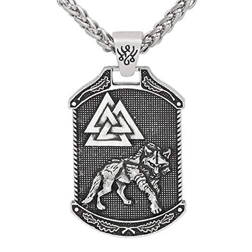 HLARK Colgante Collar Vikingo Colgante Doble Cara con Patrón Lobo árbol la Vida Amuleto Céltico Joyería para Hombre