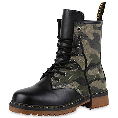SCARPE VITA Geschnürte Damen Worker Boots Profilsohle Stiefel Stiefeletten 160484 Camouflage Grün...