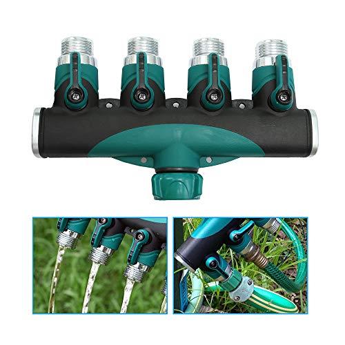Vkinman - Divisor de manguera de 4 vías con válvula de control de agua para grifo de agua y adaptador de manguera para riego de jardín