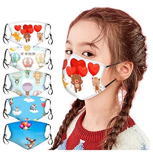Lomelomme 5 Stück Kindermundschutz mit Motiv Waschbar Staubdicht Mund und Nasenschutz Atmungsaktive Baumwolle Mundschutz Bandana Jungen Mädchen,Das beste Geschenk für Kinder