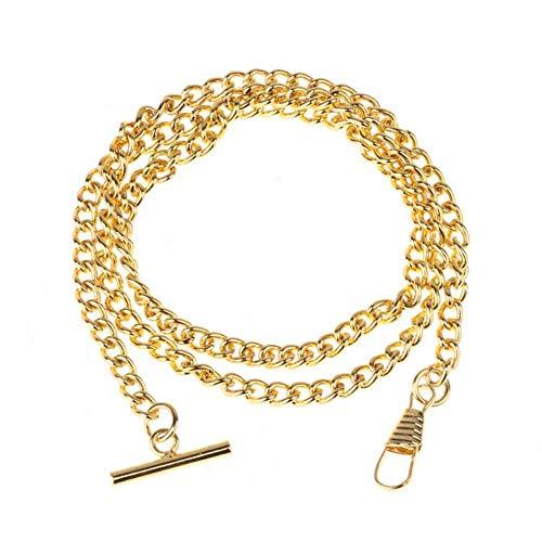 LLAAIT Vintage glänzend verchromte Metallweste Taschenuhr Kette Mode langlebig Bekleidungszubehör Ketten mit T-Bar Karabiner, Gold