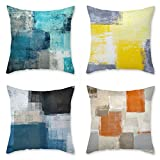 OATHENE Set of 4 Decorative Throw Pillow Covers Super-Soft Material Abstract Turquoise Couch Pillow Teal Blue Gray Yellow Pillowcases for Bedroom car 18x18 Inches.
