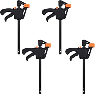 F Clamps, 4 Pcs 4inch Quick Grip F-Style Tools One-Handed Mini Fast Ratchet Bar Clips Woodworking DIY Hand Tool Kit for Wood Door Floor