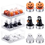 18 Pieces Halloween Tealight Candles Pumpkin Ghost Handmade Delicate Candles for Home Party Halloween Decoration