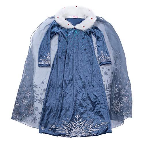 YH New York Frozen Princess Elsa Costume Girls Comfortable Long Sleeved Toddler Dress Organza Cape Premium Kids Costumes Cosplay Pretend Play Halloween (Age 4) Blue